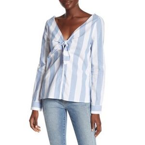 Socialite Striped Tie Front Top NWT XS